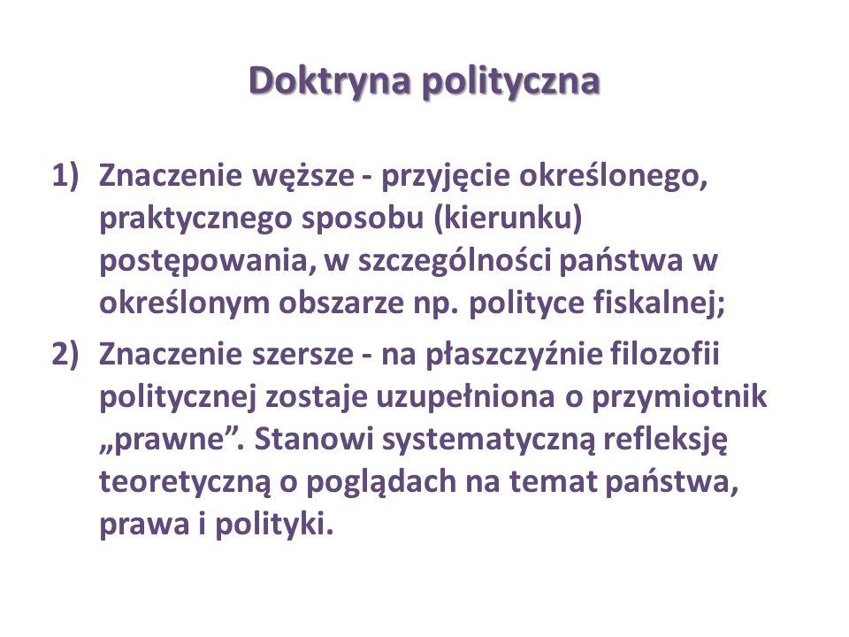 Doktryna polityczna 1)Znaczenie węższe - przyjęcie określonego, praktycznego sposobu (kierunku) postępowania, w szczególności państwa w określonym obs