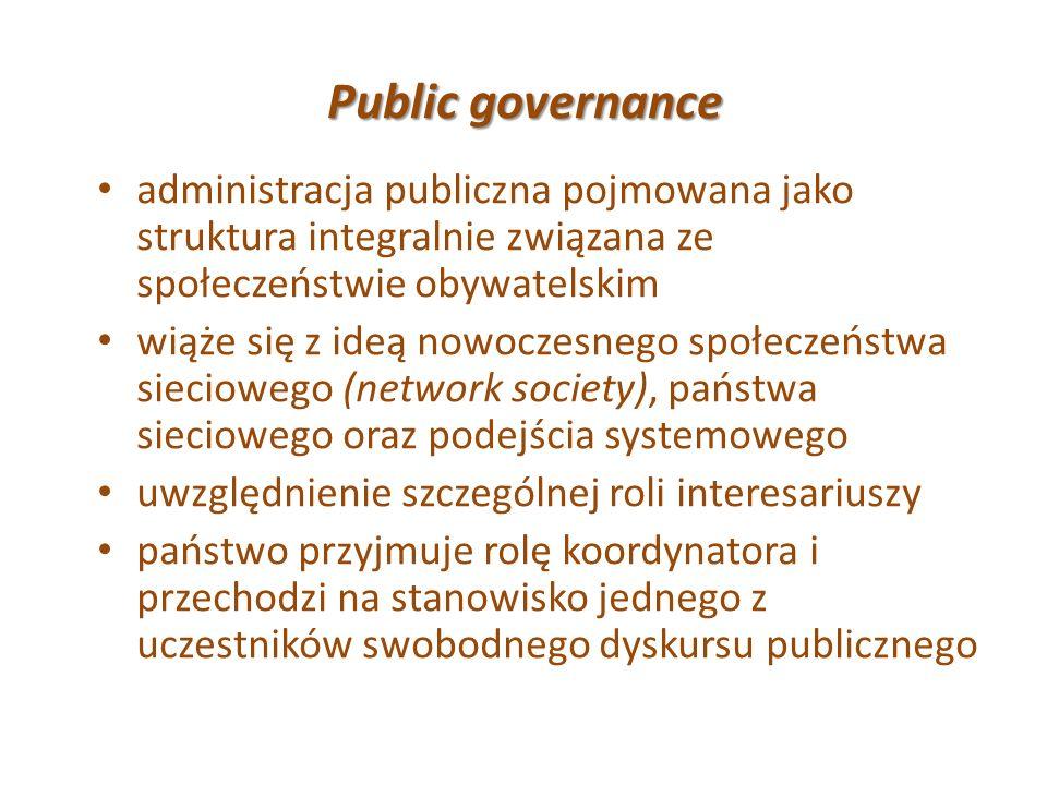 Public governance administracja publiczna pojmowana jako struktura integralnie związana ze społeczeństwie obywatelskim wiąże się z ideą nowoczesnego s