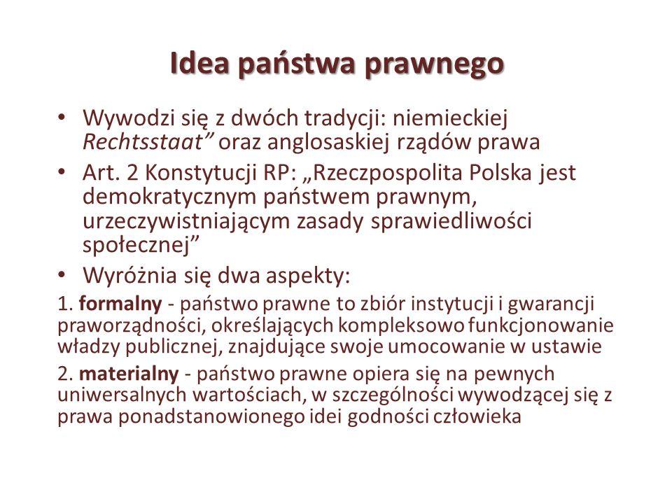 Idea państwa prawnego Wywodzi się z dwóch tradycji: niemieckiej Rechtsstaat oraz anglosaskiej rządów prawa Art. 2 Konstytucji RP: Rzeczpospolita Polsk