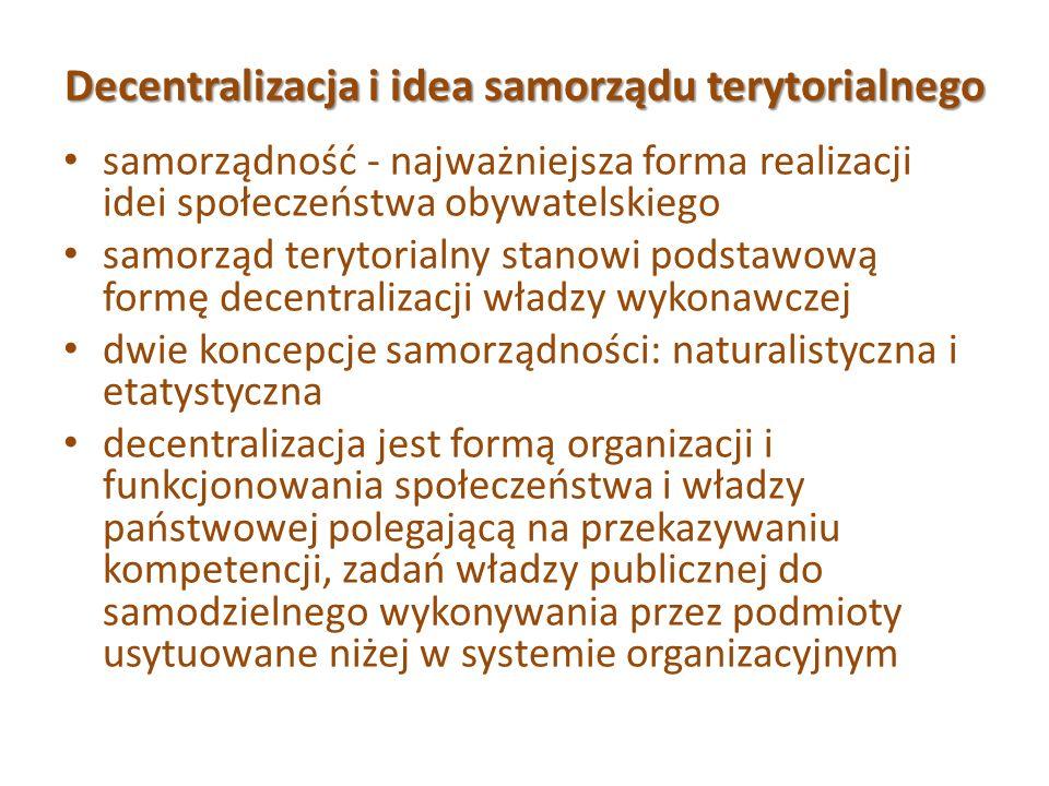Decentralizacja i idea samorządu terytorialnego samorządność - najważniejsza forma realizacji idei społeczeństwa obywatelskiego samorząd terytorialny