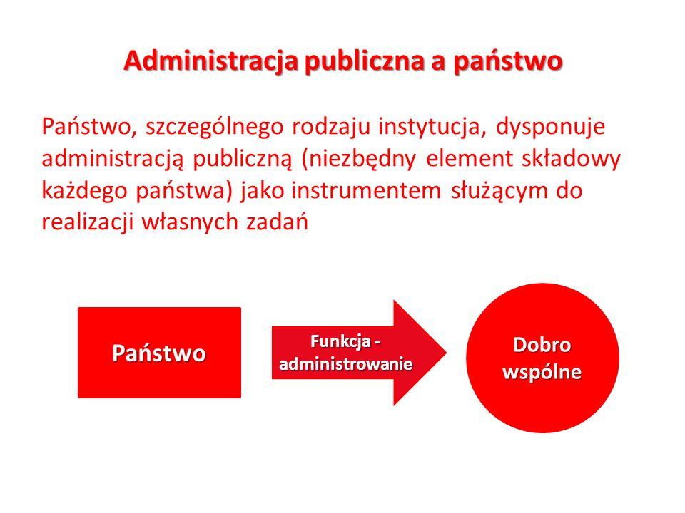 Administracja publiczna a państwo Państwo, szczególnego rodzaju instytucja, dysponuje administracją publiczną (niezbędny element składowy każdego pańs