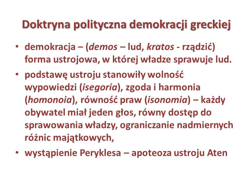 Doktryna polityczna demokracji greckiej demokracja – (demos – lud, kratos - rządzić) forma ustrojowa, w której władze sprawuje lud. podstawę ustroju s