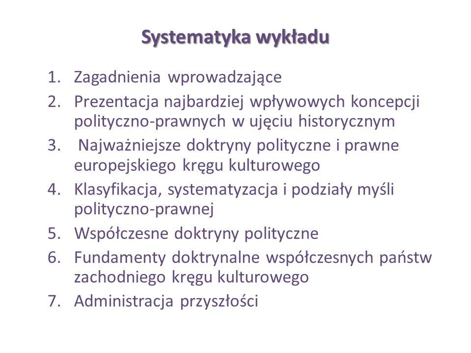 Systematyka wykładu 1.Zagadnienia wprowadzające 2.Prezentacja najbardziej wpływowych koncepcji polityczno-prawnych w ujęciu historycznym 3. Najważniej