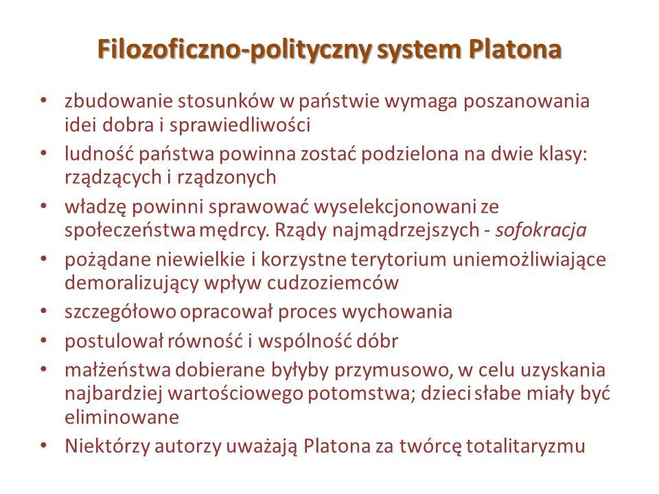 Filozoficzno-polityczny system Platona zbudowanie stosunków w państwie wymaga poszanowania idei dobra i sprawiedliwości ludność państwa powinna zostać