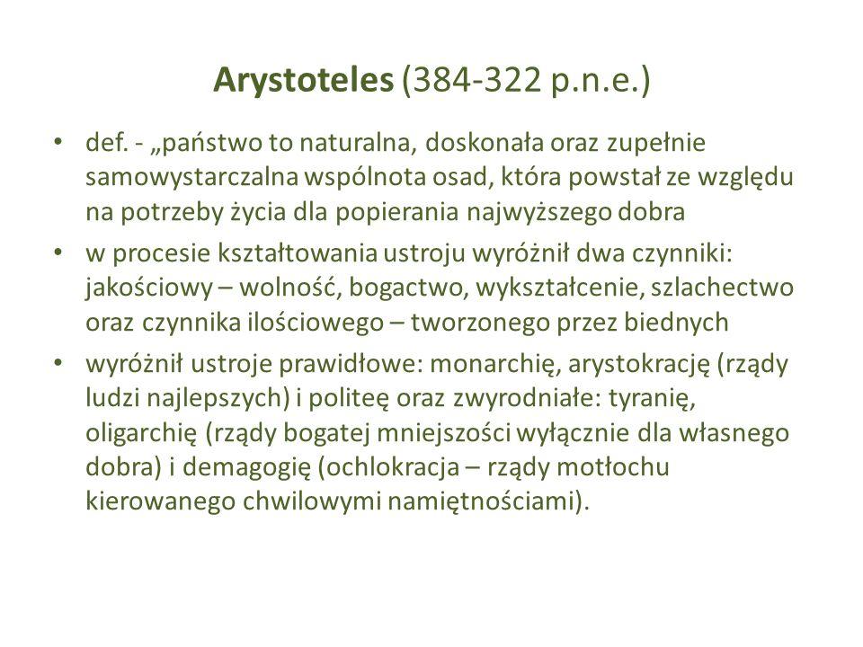 Arystoteles (384-322 p.n.e.) def. - państwo to naturalna, doskonała oraz zupełnie samowystarczalna wspólnota osad, która powstał ze względu na potrzeb