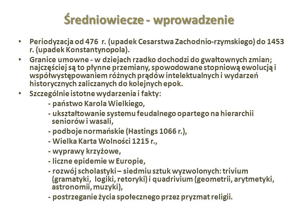 Średniowiecze - wprowadzenie Periodyzacja od 476 r. (upadek Cesarstwa Zachodnio-rzymskiego) do 1453 r. (upadek Konstantynopola). Granice umowne - w dz