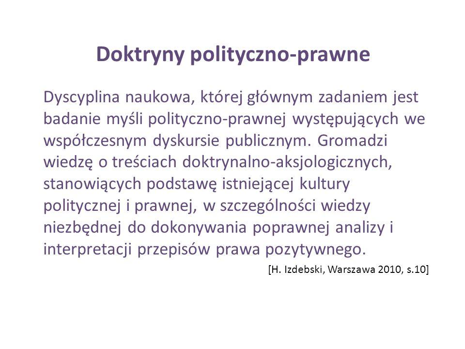 Doktryny polityczno-prawne Dyscyplina naukowa, której głównym zadaniem jest badanie myśli polityczno-prawnej występujących we współczesnym dyskursie p