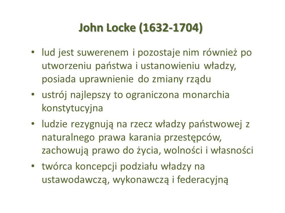 John Locke (1632-1704) lud jest suwerenem i pozostaje nim również po utworzeniu państwa i ustanowieniu władzy, posiada uprawnienie do zmiany rządu ust