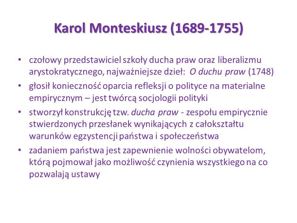 Karol Monteskiusz (1689-1755) czołowy przedstawiciel szkoły ducha praw oraz liberalizmu arystokratycznego, najważniejsze dzieł: O duchu praw (1748) gł
