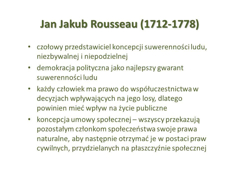 Jan Jakub Rousseau (1712-1778) czołowy przedstawiciel koncepcji suwerenności ludu, niezbywalnej i niepodzielnej demokracja polityczna jako najlepszy g