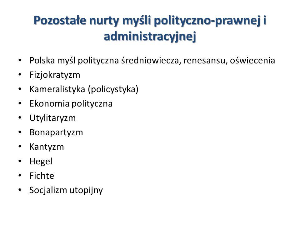 Pozostałe nurty myśli polityczno-prawnej i administracyjnej Polska myśl polityczna średniowiecza, renesansu, oświecenia Fizjokratyzm Kameralistyka (po