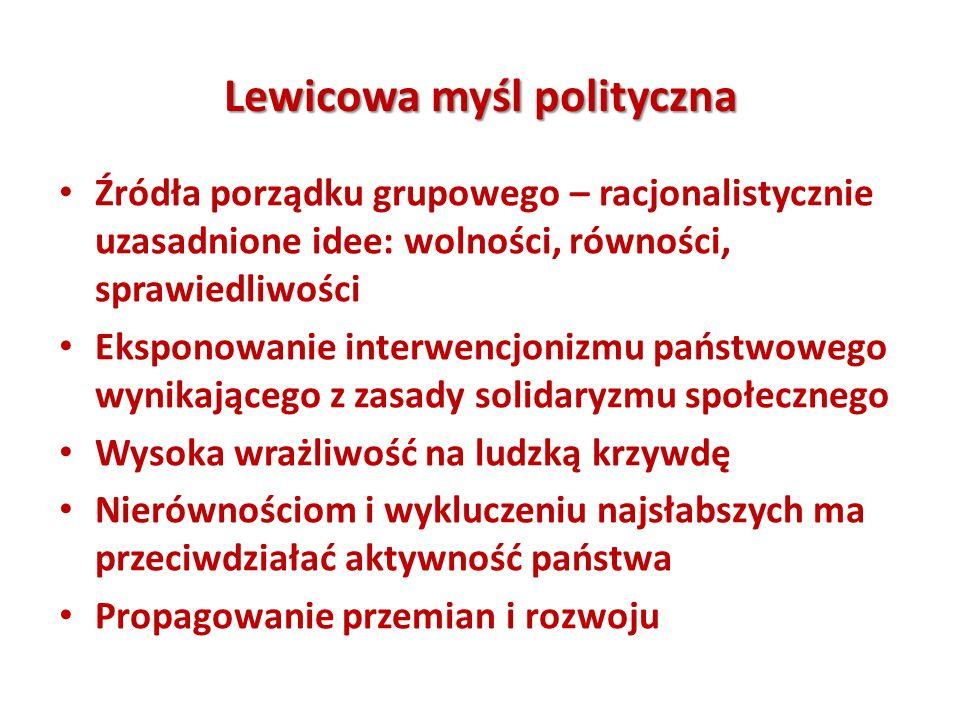 Lewicowa myśl polityczna Źródła porządku grupowego – racjonalistycznie uzasadnione idee: wolności, równości, sprawiedliwości Eksponowanie interwencjon