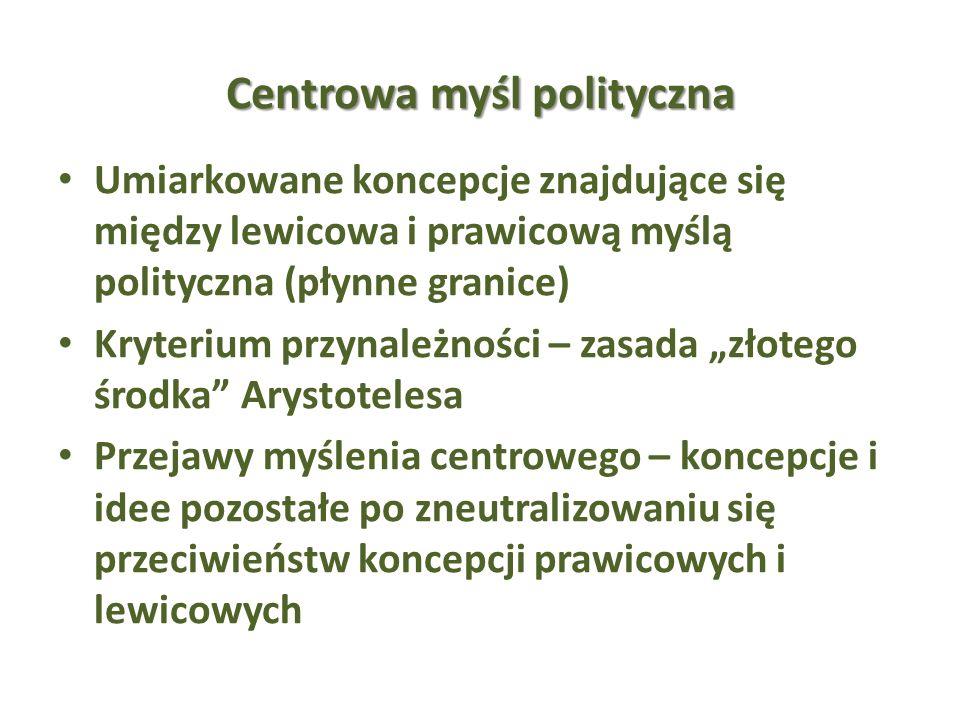 Centrowa myśl polityczna Umiarkowane koncepcje znajdujące się między lewicowa i prawicową myślą polityczna (płynne granice) Kryterium przynależności –