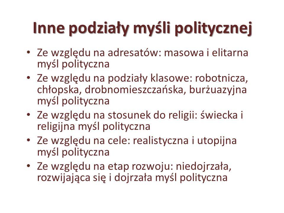 Inne podziały myśli politycznej Ze względu na adresatów: masowa i elitarna myśl polityczna Ze względu na podziały klasowe: robotnicza, chłopska, drobn