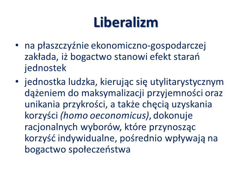 Liberalizm na płaszczyźnie ekonomiczno-gospodarczej zakłada, iż bogactwo stanowi efekt starań jednostek jednostka ludzka, kierując się utylitarystyczn