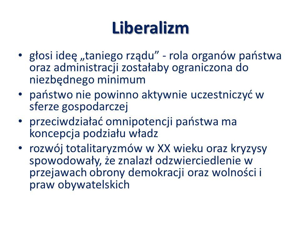 Liberalizm głosi ideę taniego rządu - rola organów państwa oraz administracji zostałaby ograniczona do niezbędnego minimum państwo nie powinno aktywni