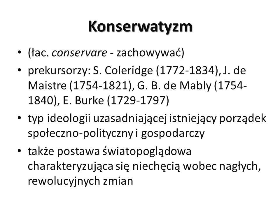 Konserwatyzm (łac. conservare - zachowywać) prekursorzy: S. Coleridge (1772-1834), J. de Maistre (1754-1821), G. B. de Mably (1754- 1840), E. Burke (1
