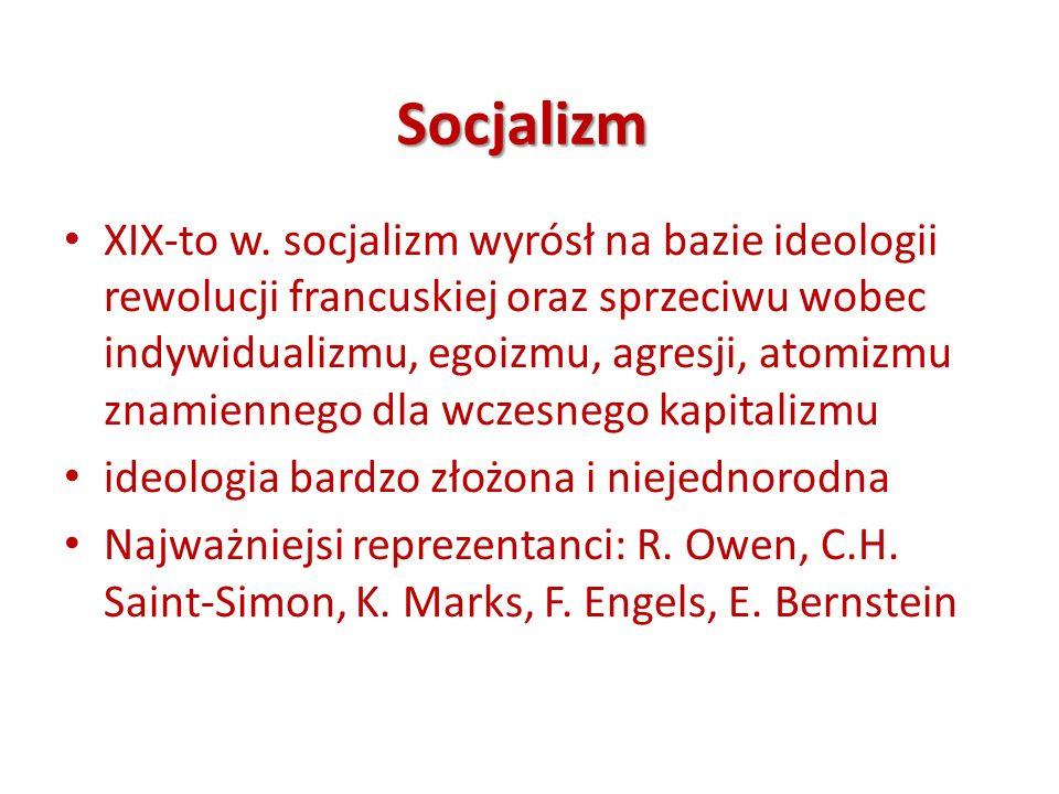 Socjalizm XIX-to w. socjalizm wyrósł na bazie ideologii rewolucji francuskiej oraz sprzeciwu wobec indywidualizmu, egoizmu, agresji, atomizmu znamienn