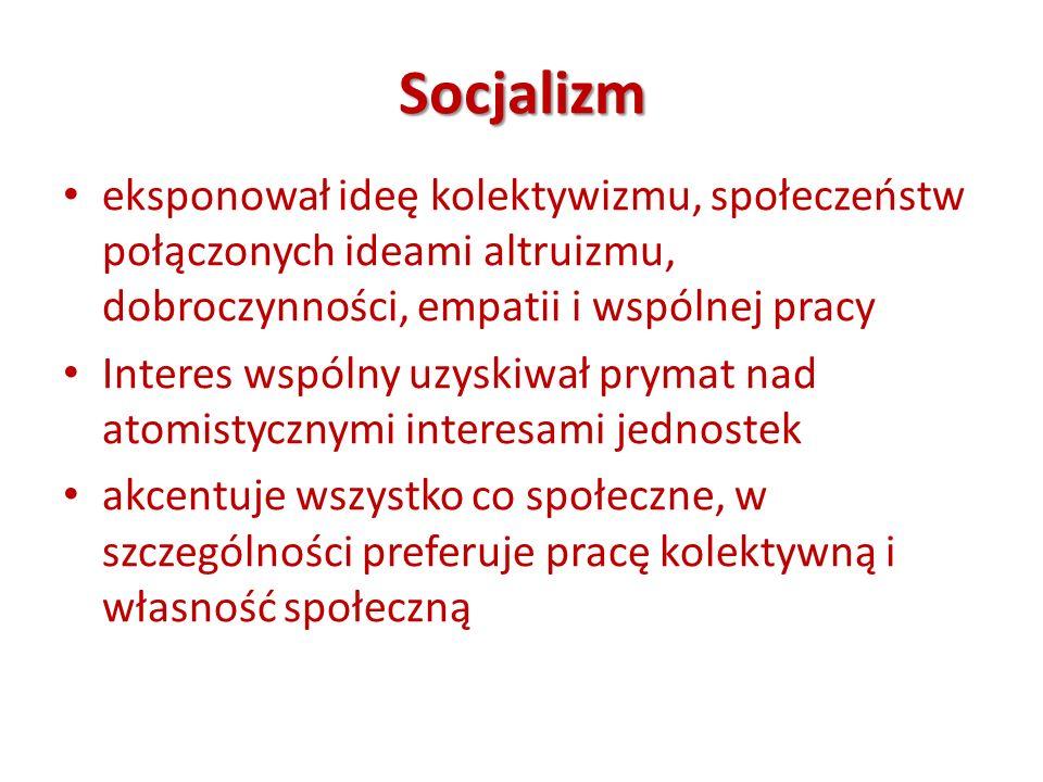 Socjalizm eksponował ideę kolektywizmu, społeczeństw połączonych ideami altruizmu, dobroczynności, empatii i wspólnej pracy Interes wspólny uzyskiwał