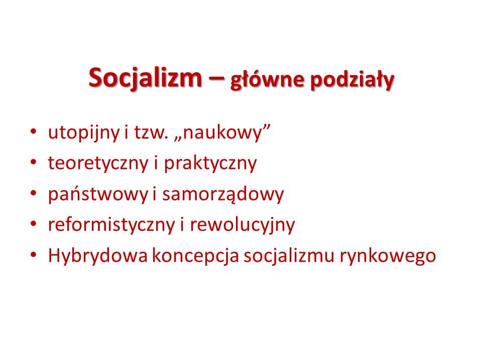 Socjalizm – główne podziały utopijny i tzw. naukowy teoretyczny i praktyczny państwowy i samorządowy reformistyczny i rewolucyjny Hybrydowa koncepcja