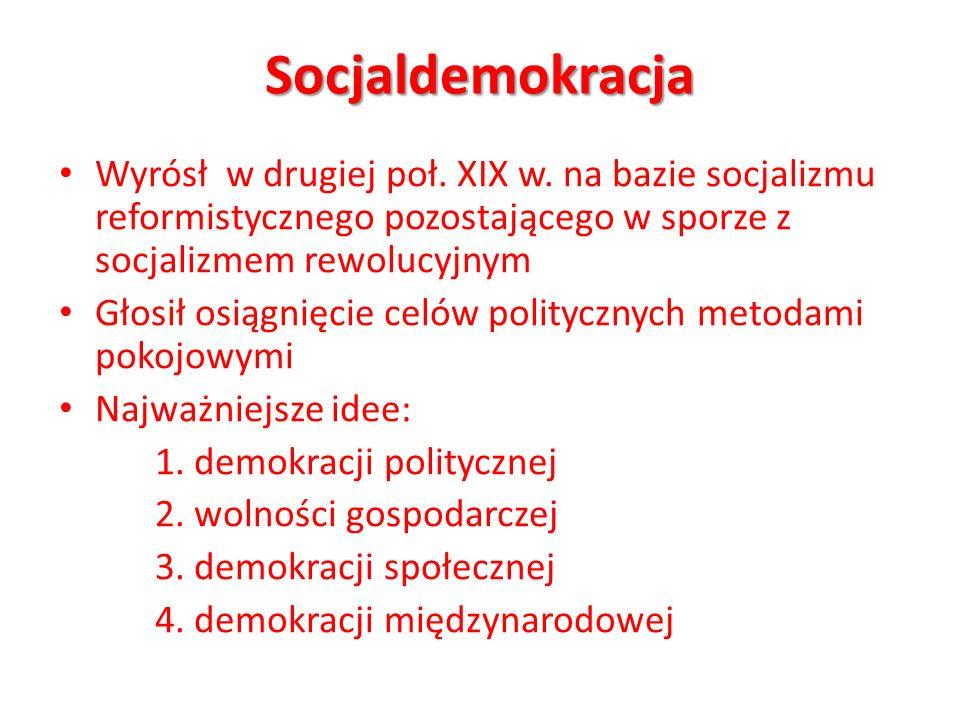 Socjaldemokracja Wyrósł w drugiej poł. XIX w. na bazie socjalizmu reformistycznego pozostającego w sporze z socjalizmem rewolucyjnym Głosił osiągnięci