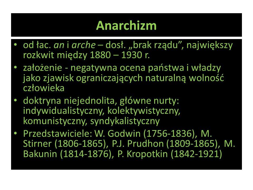 Anarchizm od łac. an i arche – dosł. brak rządu, największy rozkwit między 1880 – 1930 r. założenie - negatywna ocena państwa i władzy jako zjawisk og