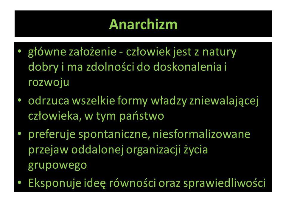 Anarchizm główne założenie - człowiek jest z natury dobry i ma zdolności do doskonalenia i rozwoju odrzuca wszelkie formy władzy zniewalającej człowie