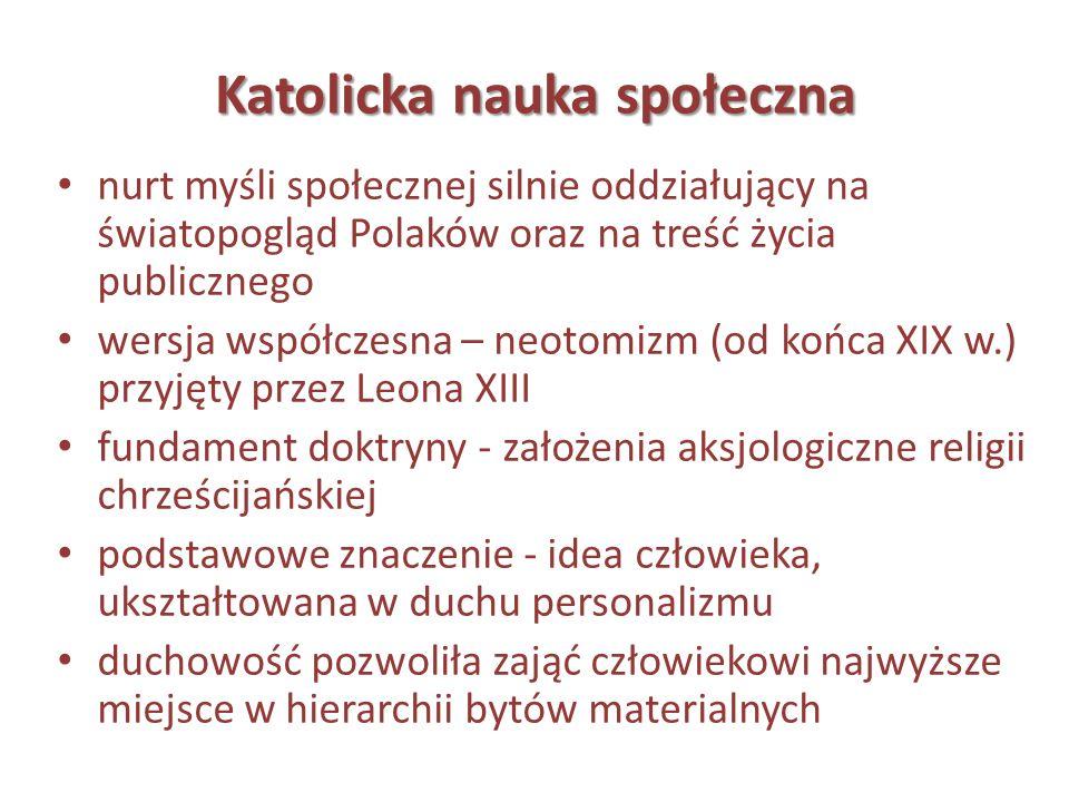 Katolicka nauka społeczna nurt myśli społecznej silnie oddziałujący na światopogląd Polaków oraz na treść życia publicznego wersja współczesna – neoto