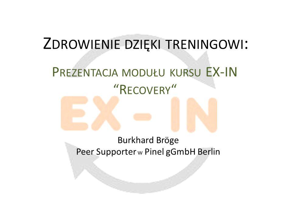 Zdrowienie dzięki treningowi - Prezentacja modułu kursu EX-IN Recovery Burkhard Bröge (Pinel gGmbH Berlin) - Wrocław 2012 Dziękuję za uwagę!