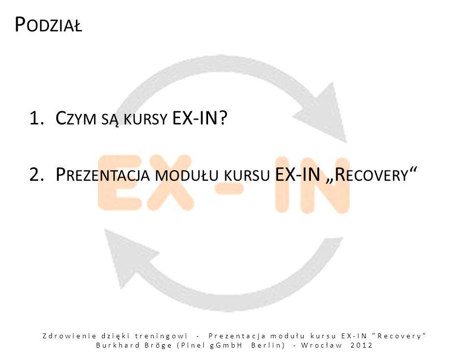 Zdrowienie dzięki treningowi - Prezentacja modułu kursu EX-IN Recovery Burkhard Bröge (Pinel gGmbH Berlin) - Wrocław 2012 P ODZIAŁ 1.C ZYM SĄ KURSY EX-IN.
