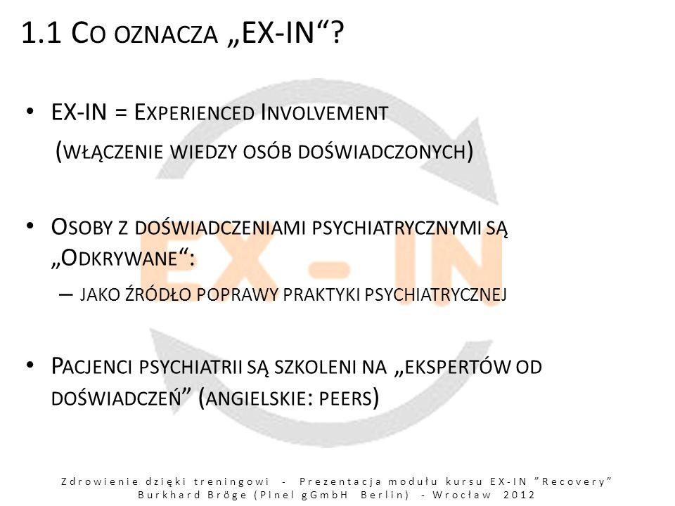 Zdrowienie dzięki treningowi - Prezentacja modułu kursu EX-IN Recovery Burkhard Bröge (Pinel gGmbH Berlin) - Wrocław 2012 1.1 C O OZNACZA EX-IN.