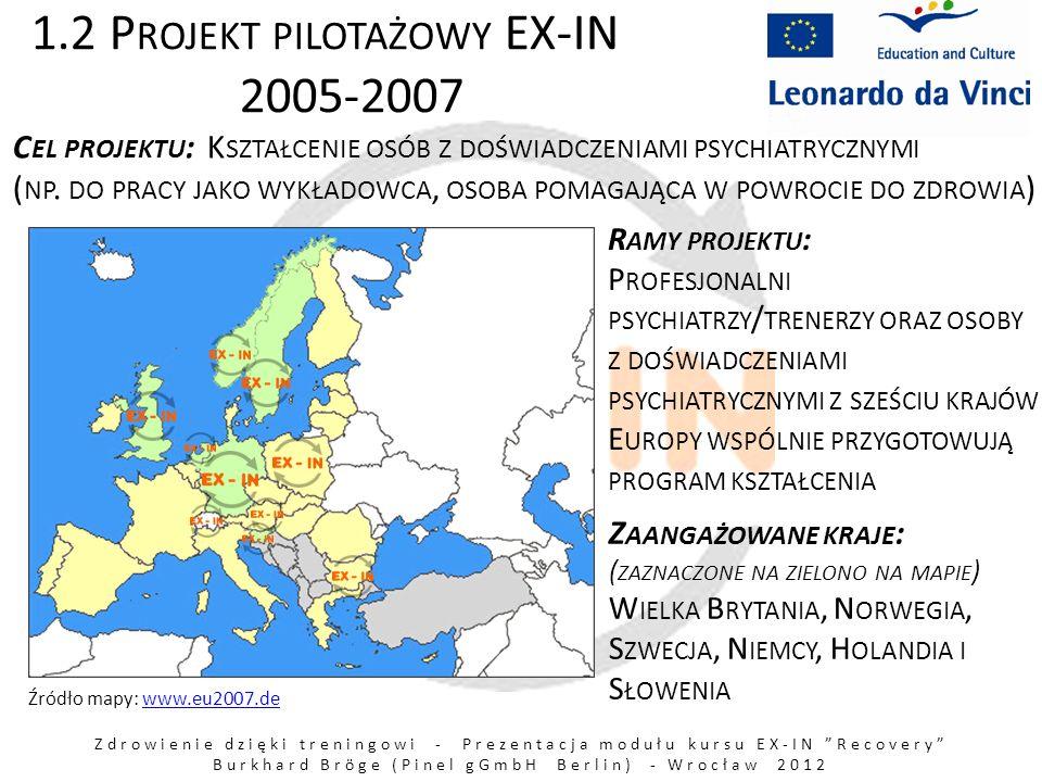 Zdrowienie dzięki treningowi - Prezentacja modułu kursu EX-IN Recovery Burkhard Bröge (Pinel gGmbH Berlin) - Wrocław 2012 1.3 B ADANIA DOTYCZĄCE ZAANGAŻOWANIA OSÓB DOTKNIĘTYCH CHOROBĄ O SOBY DOTKNIĘTE CHOROBĄ PRZYCZYNIAJĄ SIĘ : – DO LEPSZEGO ZROZUMIENIA ZABURZEŃ PSYCHICZNYCH – DO ZDOBYCIA WIEDZY O CZYNNIKACH WPŁYWAJĄCYCH KORZYSTNIE NA PROCES ZDROWIENIA W PSYCHIATRII – DO OPRACOWANIA NOWYCH METOD ORAZ SZCZEGÓŁOWEJ WIEDZY PRZEKAZYWANEJ PROFESJONALISTOM W PROCESIE ICH KSZTAŁCENIA – DO POWSTANIA INNOWACYJNYCH OFERT USŁUG PSYCHIATRYCZNYCH Por.