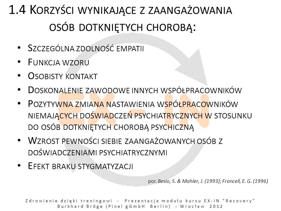 Zdrowienie dzięki treningowi - Prezentacja modułu kursu EX-IN Recovery Burkhard Bröge (Pinel gGmbH Berlin) - Wrocław 2012 2.8 O GÓLNY OPIS PROCESU ZDROWIENIA C IĘŻKA CHOROBA PSYCHICZNA / DUŻY STRES PSYCHOLOGICZNY / DOŚWIADCZENIE CIERPIENIA U ŚWIADOMIENIE SOBIE, ŻE ZMIANA JEST MOŻLIWA I NDYWIDUALNA STRATEGIA ZMIANY, PLAN DZIAŁANIA Z DETERMINOWANIE, ZDECYDOWANE ZAANGAŻOWANIE S TABILIZACJA, BUDOWANIE WEWNĘTRZNEGO BEZPIECZEŃSTWA U MIEJĘTNOŚĆ DZIAŁANIA / ODZYSKANIE KONTROLI N OWE ŻYCIE ( WYJŚCIE Z KRYZYSU WZMOCNIONYM I ZMIENIONYM ) Por.