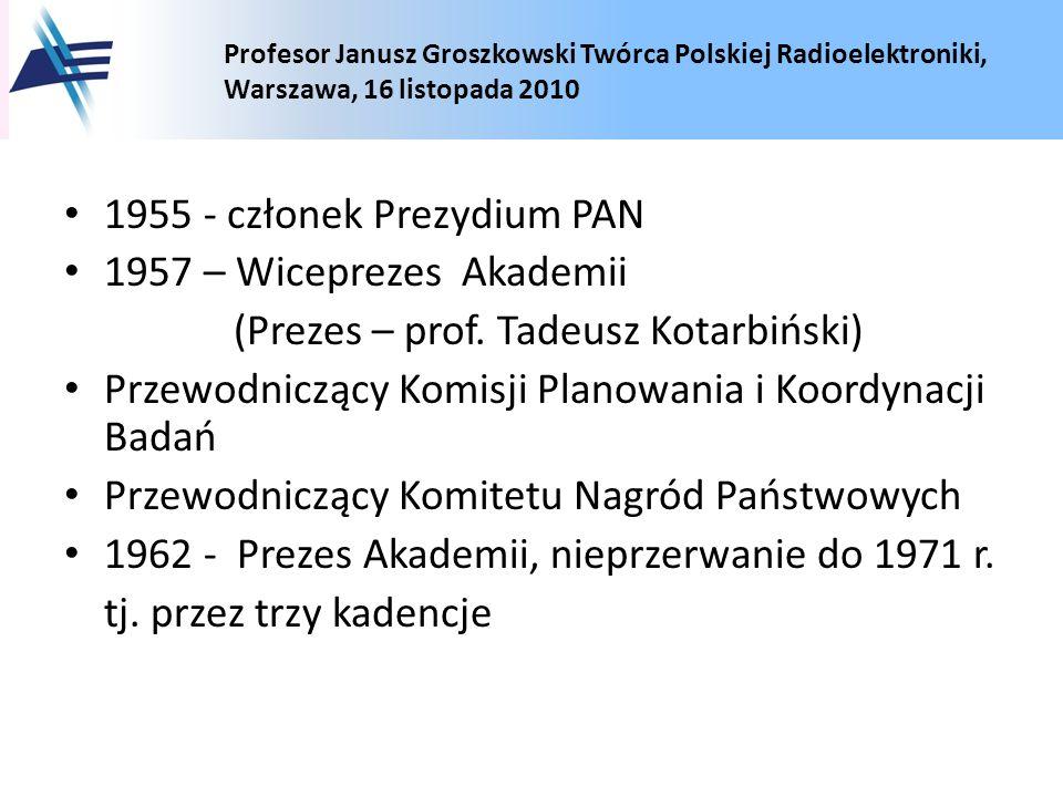 Profesor Janusz Groszkowski Twórca Polskiej Radioelektroniki, Warszawa, 16 listopada 2010 1955 - członek Prezydium PAN 1957 – Wiceprezes Akademii (Pre