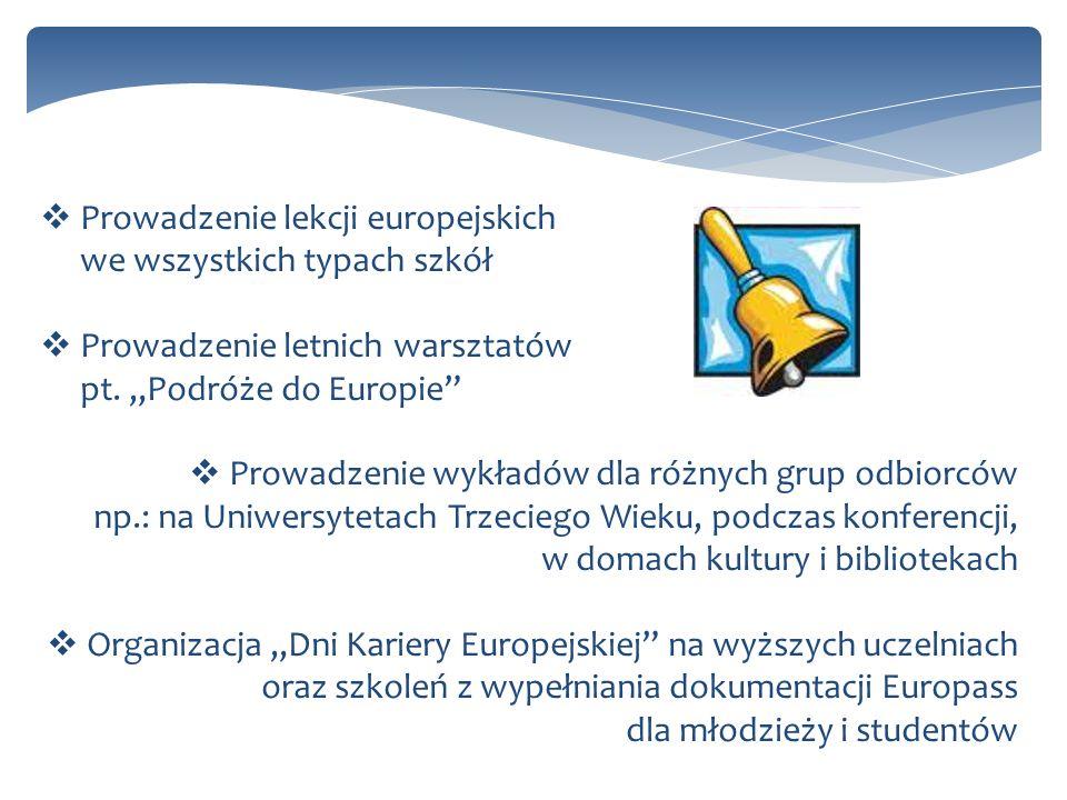Prowadzenie lekcji europejskich we wszystkich typach szkół Prowadzenie letnich warsztatów pt. Podróże do Europie Prowadzenie wykładów dla różnych grup