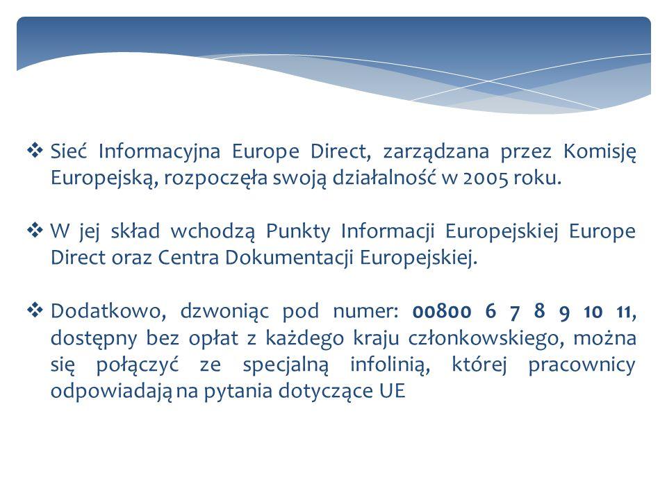 Nowa edycja Punktów Informacji Europejskiej Europe Direct została wyłoniona 1 stycznia 2013 roku, będzie ona funkcjonować przez 5 lat.