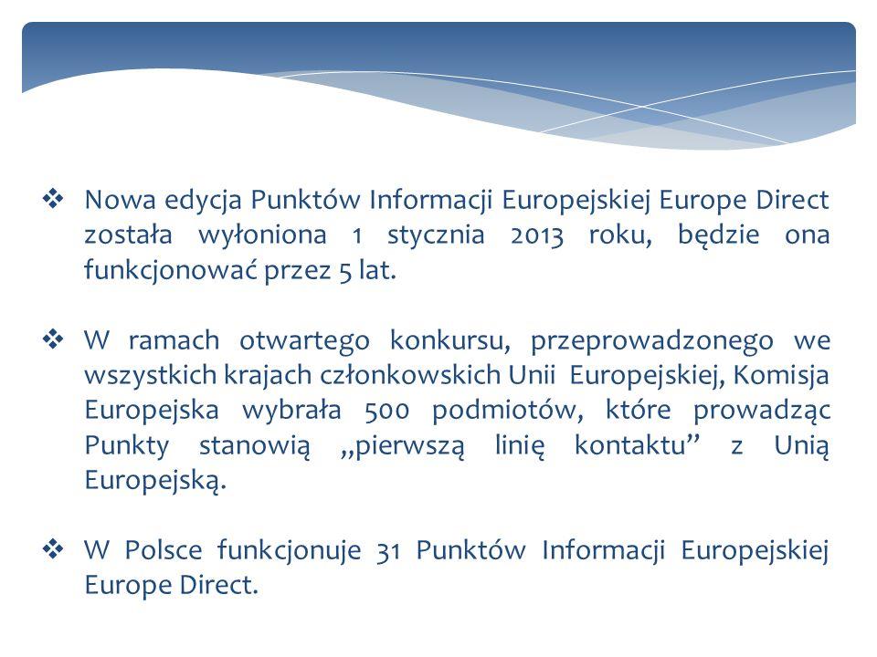 Nowa edycja Punktów Informacji Europejskiej Europe Direct została wyłoniona 1 stycznia 2013 roku, będzie ona funkcjonować przez 5 lat. W ramach otwart