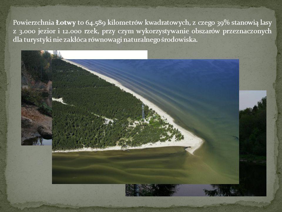 Powierzchnia Łotwy to 64.589 kilometrów kwadratowych, z czego 39% stanowią lasy z 3.000 jezior i 12.000 rzek, przy czym wykorzystywanie obszarów przez