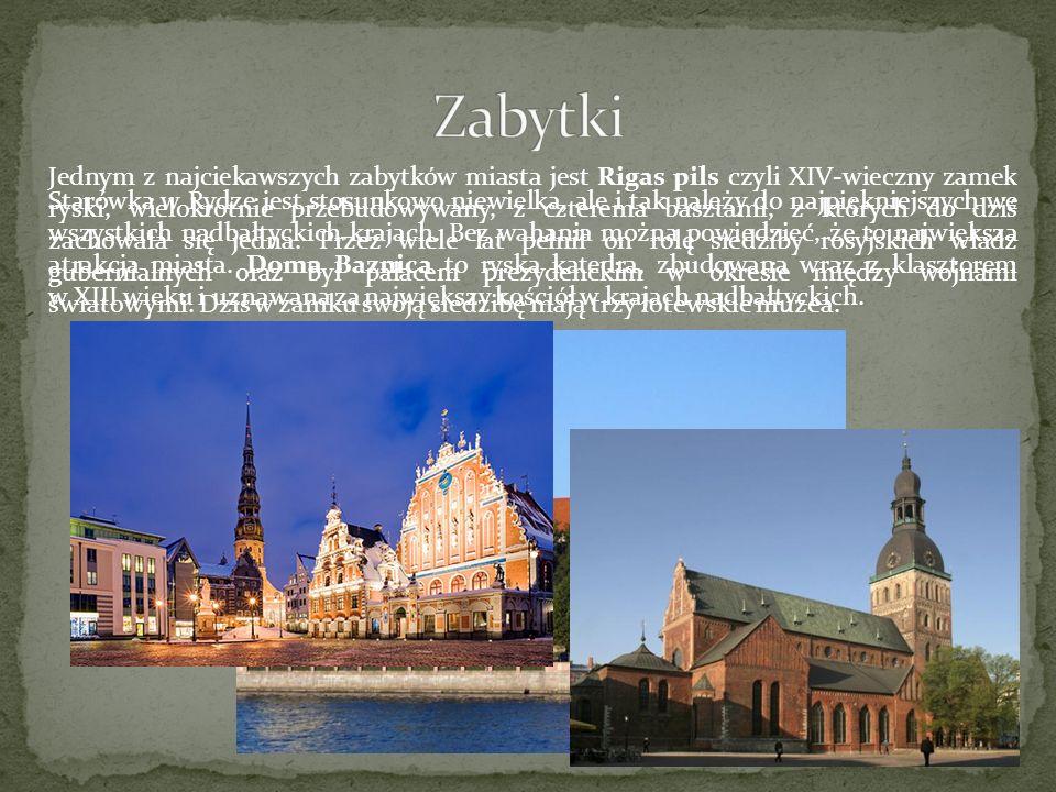 Jednym z najciekawszych zabytków miasta jest Rigas pils czyli XIV-wieczny zamek ryski, wielokrotnie przebudowywany, z czterema basztami, z których do