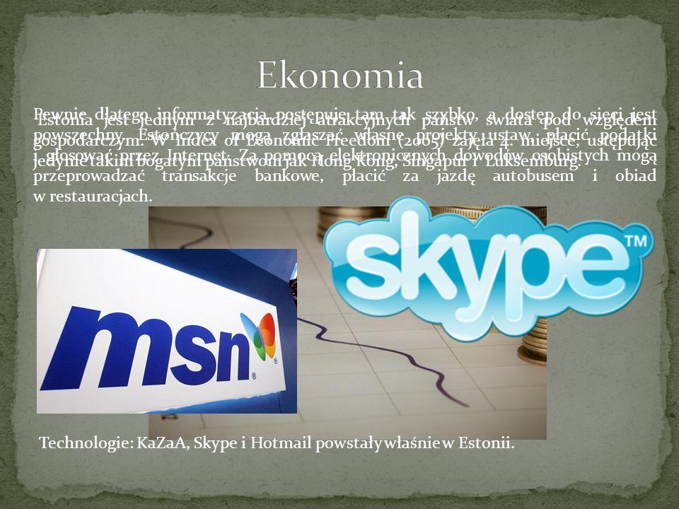 Estonia jest jednym z najbardziej atrakcyjnych państw świata pod względem gospodarczym. W Index of Economic Freedom (2005) zajęła 4. miejsce, ustępują
