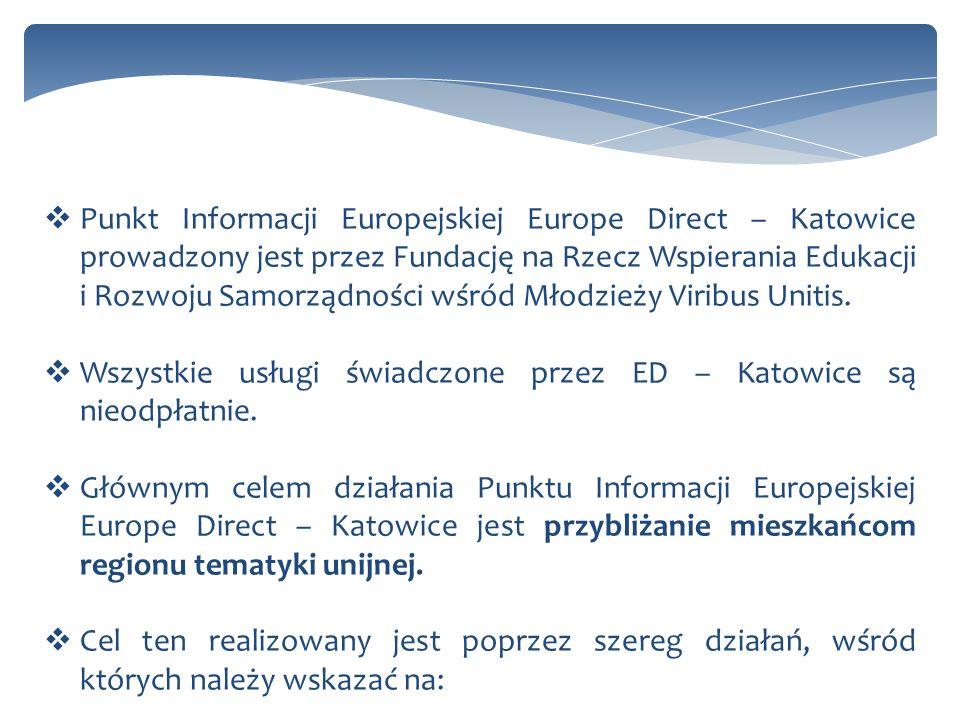 Punkt Informacji Europejskiej Europe Direct – Katowice prowadzony jest przez Fundację na Rzecz Wspierania Edukacji i Rozwoju Samorządności wśród Młodz