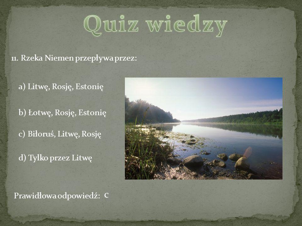 11. Rzeka Niemen przepływa przez: a) Litwę, Rosję, Estonię b) Łotwę, Rosję, Estonię c) Biłoruś, Litwę, Rosję d) Tylko przez Litwę Prawidłowa odpowiedź
