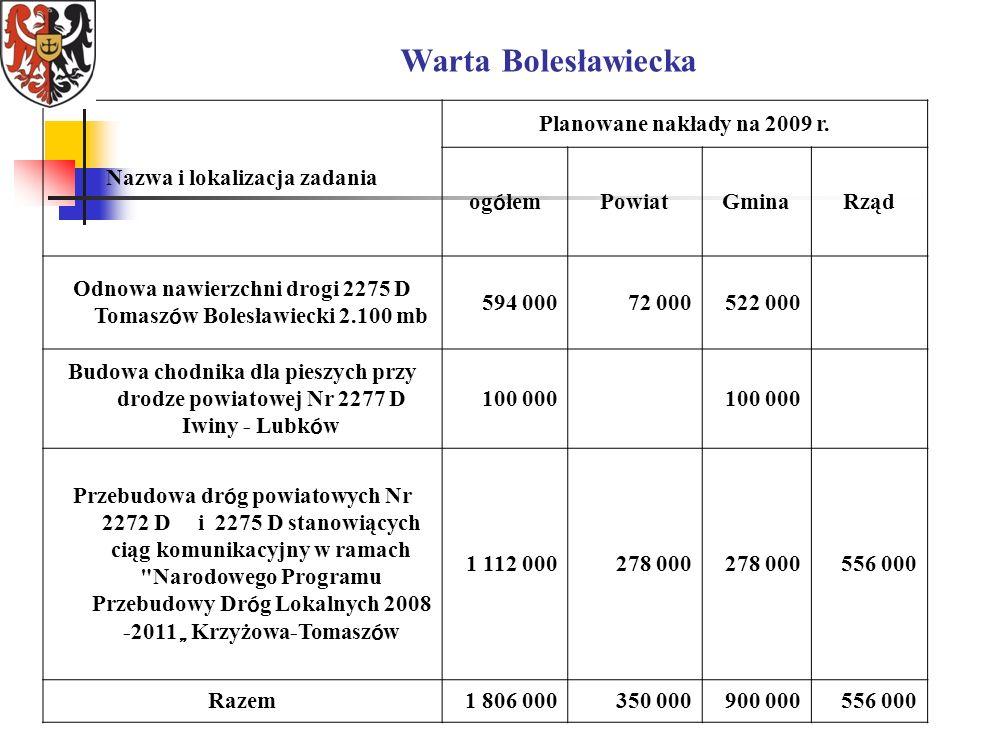 Warta Bolesławiecka Nazwa i lokalizacja zadania Planowane nakłady na 2009 r.