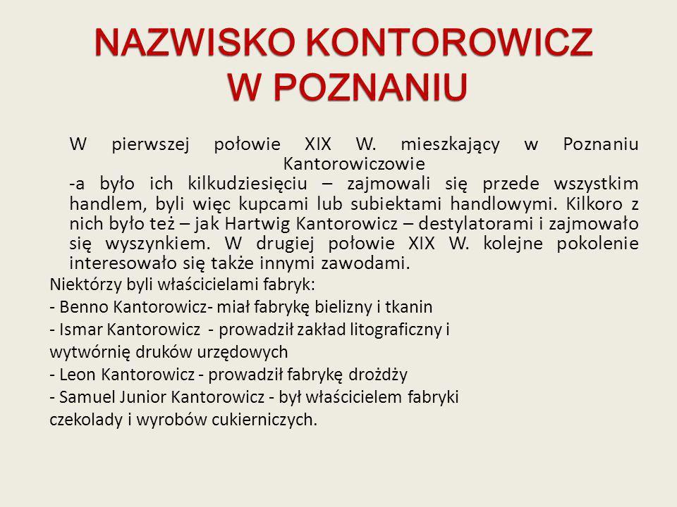 W pierwszej połowie XIX W. mieszkający w Poznaniu Kantorowiczowie -a było ich kilkudziesięciu – zajmowali się przede wszystkim handlem, byli więc kupc