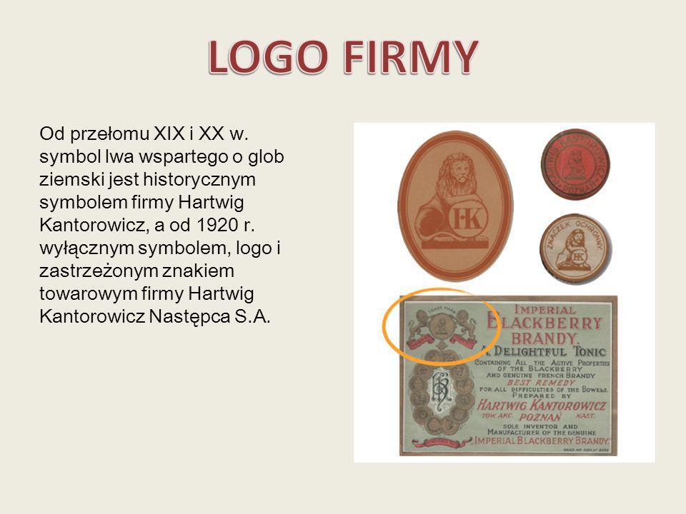 Od przełomu XIX i XX w. symbol lwa wspartego o glob ziemski jest historycznym symbolem firmy Hartwig Kantorowicz, a od 1920 r. wyłącznym symbolem, log