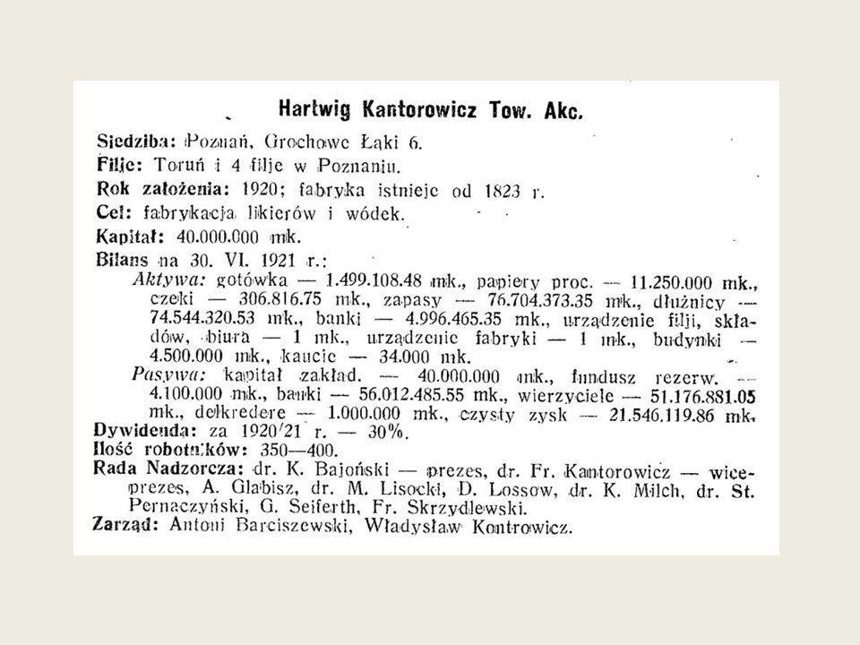 Przez cały okres międzywojenny firma Hartwig Kantorowicz kontynuowała swoją działalność pod polskim zarządem.