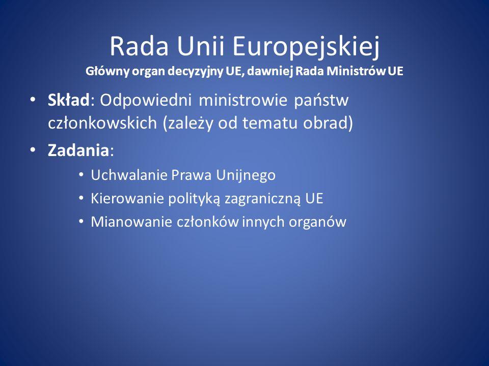 Rada Unii Europejskiej Skład: Odpowiedni ministrowie państw członkowskich (zależy od tematu obrad) Zadania: Uchwalanie Prawa Unijnego Kierowanie polit
