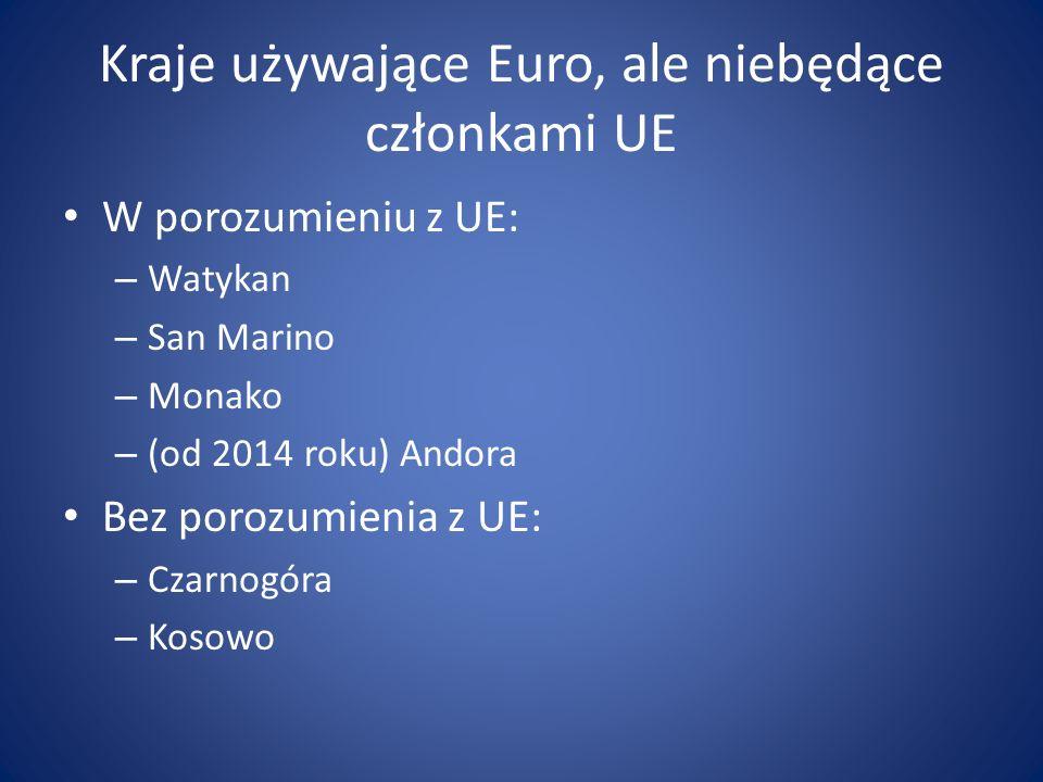 Kraje używające Euro, ale niebędące członkami UE W porozumieniu z UE: – Watykan – San Marino – Monako – (od 2014 roku) Andora Bez porozumienia z UE: –