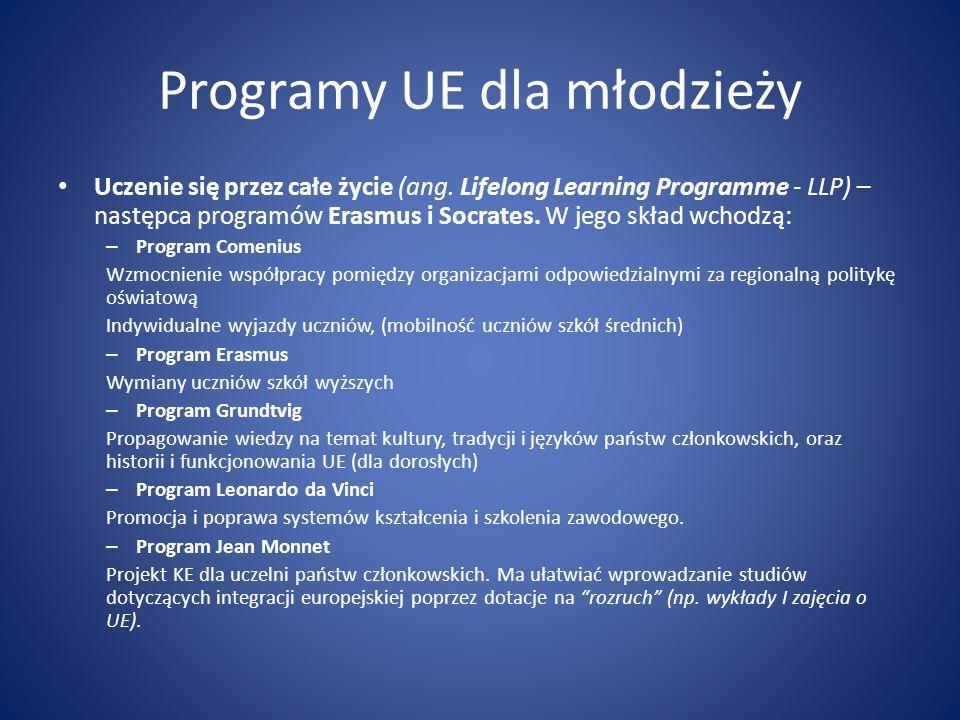 Programy UE dla młodzieży Uczenie się przez całe życie (ang. Lifelong Learning Programme - LLP) – następca programów Erasmus i Socrates. W jego skład