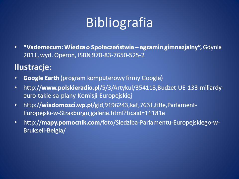 Bibliografia Vademecum: Wiedza o Społeczeństwie – egzamin gimnazjalny, Gdynia 2011, wyd. Operon, ISBN 978-83-7650-525-2 Ilustracje: Google Earth (prog